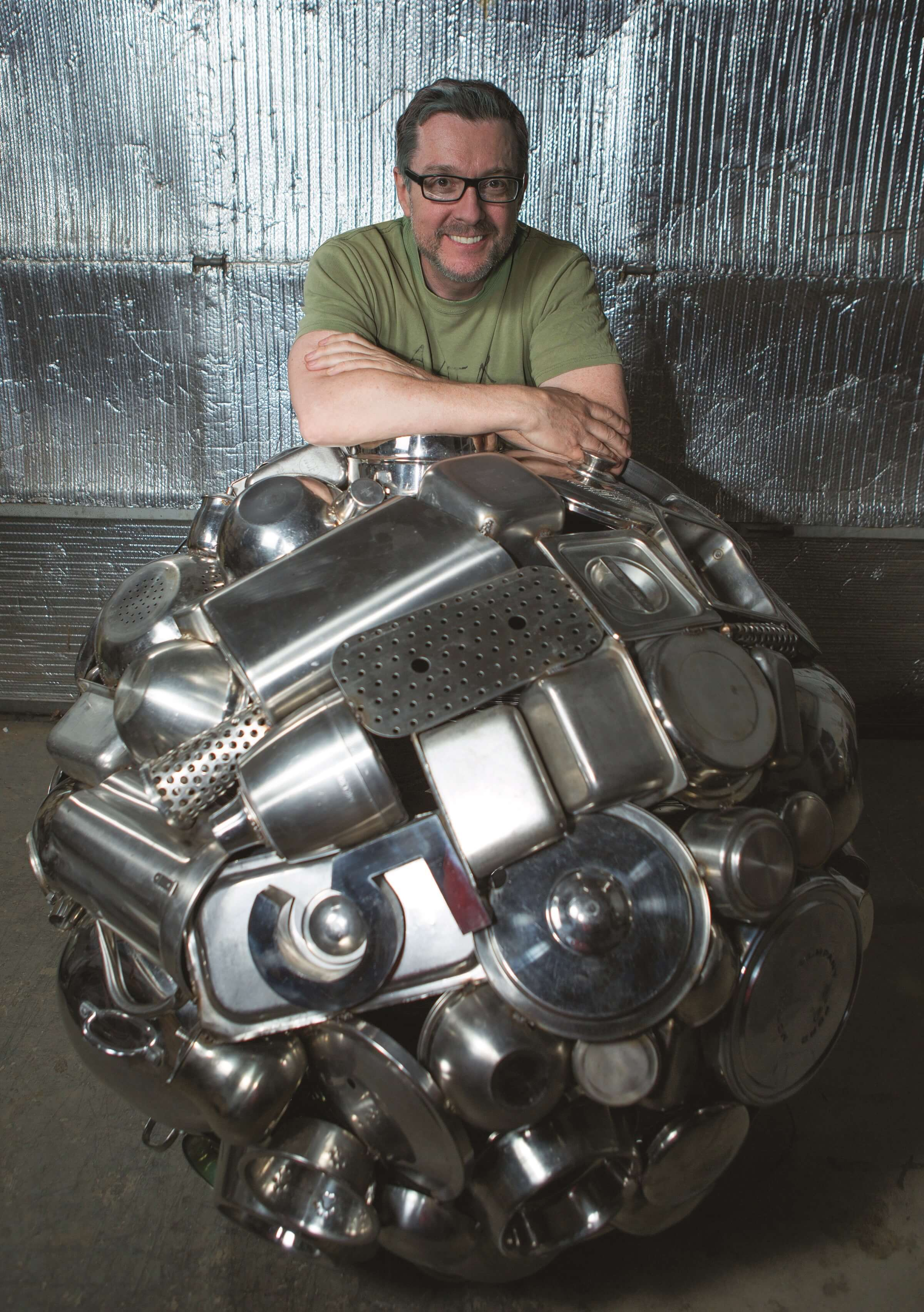 Donald_Gialanella with one of his abandoned objects sculptures