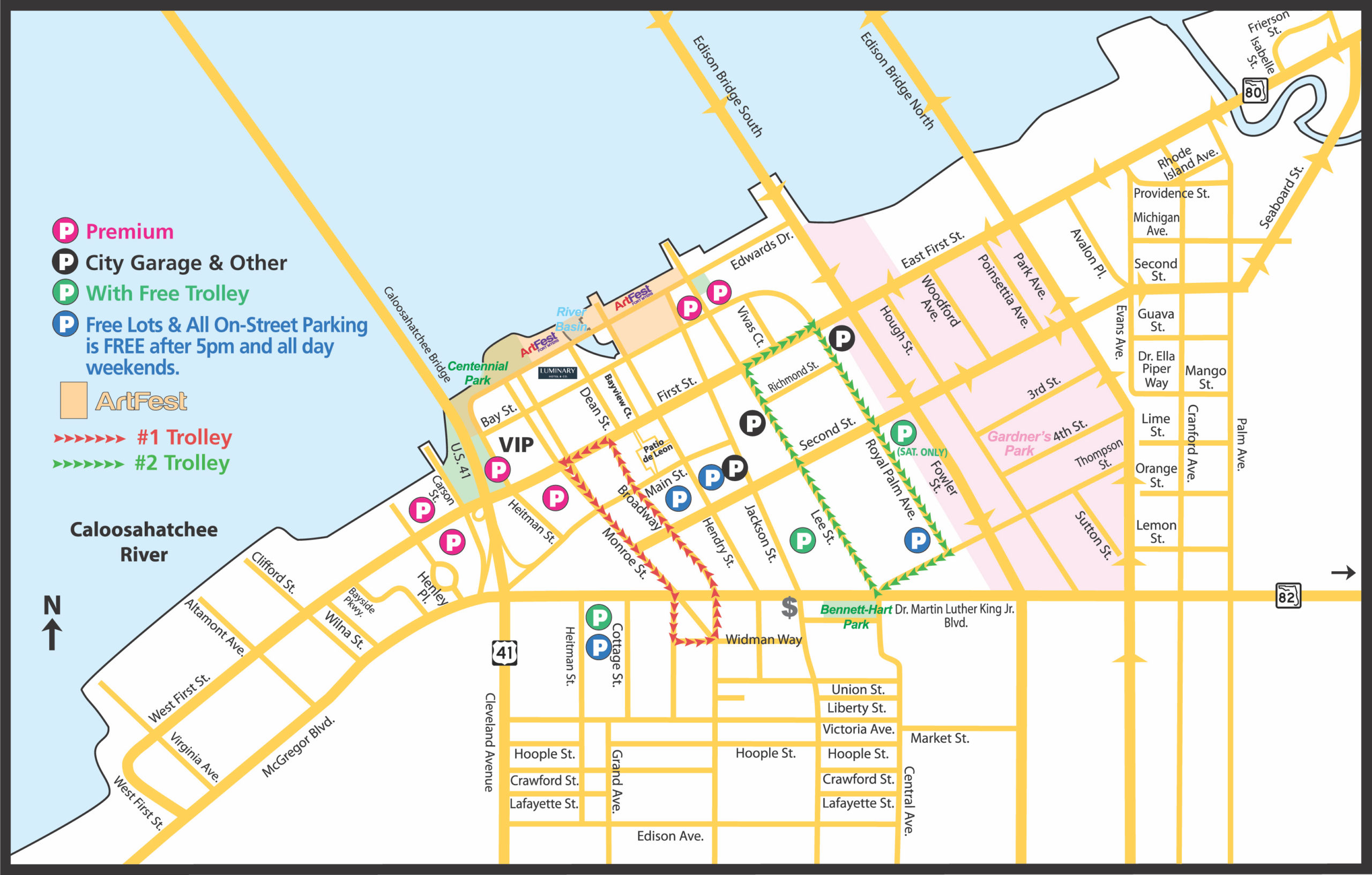 Fort Myers River District Business Map